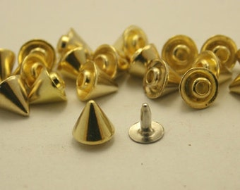 15 pcs Zinc Gold Cone SPIKES RIVETS Studs Leather Craft Decorations Findings 8 mm. C R8 CH