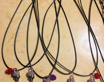 Purple vulture necklace