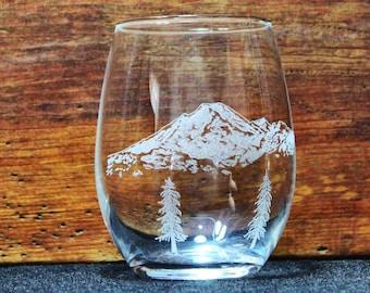 Mt. Baker Hand-Engraved Stemless Wine glass