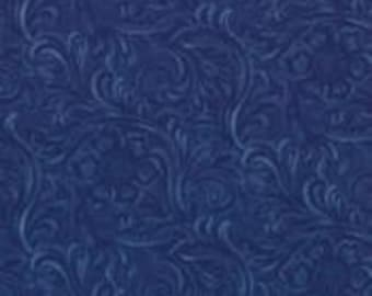 "Beautiful navy ""Tooled Leather"" look quilting fabric."