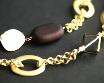 Badge Holder or Eyeglass Lanyard. Brown Lanyard. Beaded Eyeglass Holder. Brown and Gold Lanyard. Eyeglass Chain. Handmade Lanyard.