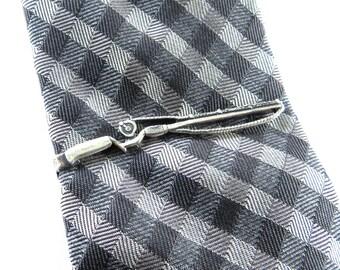 Pince à cravate pêche, pêche Rod Tie Bar, canne à pêche, pêche de cadeaux pour les hommes, en argent ou en laiton finition