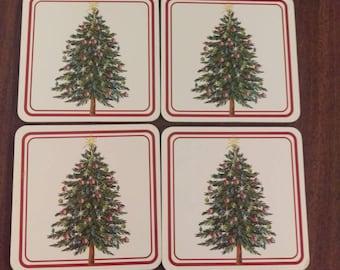 Vintage Christmas Tree Coasters, Cork Back Coaster Set, Christmas Coasters Set of Four, 1980s Cork Coasters