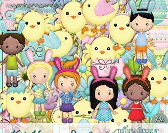 Kit Scrapbook Digital Happy Easter
