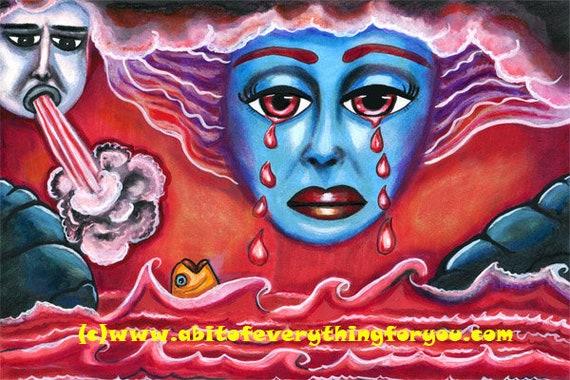 Angry Gods ORIGINAL ART PAINTINg blood red sea crying sky goddess Revelation 16:3  bible religious art modern