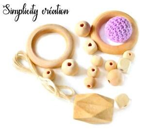 Rings of educational kit 13 wooden beads