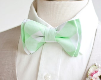 """Bow Tie, Mens Bow Tie, Bowtie, Bowties, Bow Ties, Bowties, Mint Bow Tie, Groomsmen Bow Ties, Wedding Bow Ties - 1"""" Mint Green Gingham Check"""