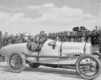 Race Car Driver, Ralph De Palma Photo, Sheepshead Bay Speedway, Gift For Him, 1917, Car Races, Black and White Photography, 1917