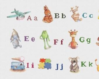"Alphabet illustred Counted Cross Stitch Alphabet Pattern digital file pattern pdf クロスステッチ korss - 21.65"" x 30.43"" - L924"