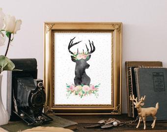 Deer head decor, Printable art print, 8x10 print, Deer wall art, Instant download, Deer poster print, Deer decoration, Antlers print BD-613
