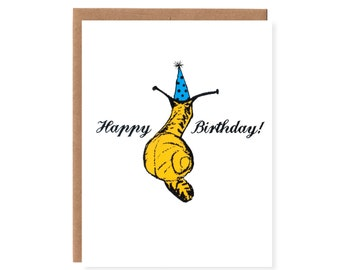 Snail in a Party Hat -- Screenprinted Birthday Card