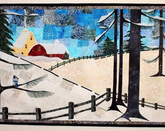 Winter's Charm - Art Quilt - Art - Quilt - Wall Hanging - Handmade - Original Design - Snow - Blue - Barn - Blue Jay - Textile