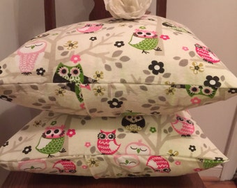 Pillow Covers/ Shabby Chic Pillow Cover/ Owl Pillow Covers, 2 Pillow Covers/ Handmade Pillow Covers