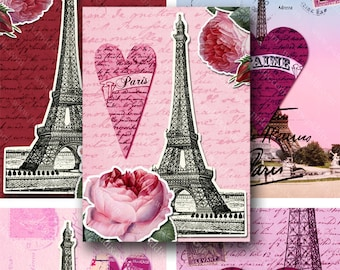Vintage French Valentine Digital Collage Sheet  2.5x3.5 Inch Romantic Eiffel Tower France Paris ATC Printable Red and Pink Hearts piddix 798