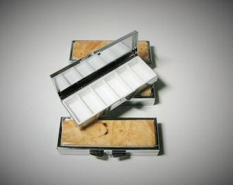 Birds Eye Maple Wood Pill Box -  Earring Case, Small Wood Pill Box, Wood Medicine Case, Chrome Medicine Box, Wooden Pill Case