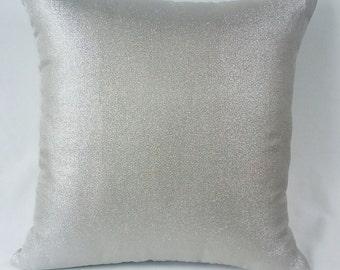 Silver metallic  throw pillow. Shiny metallic silver cushion cover. Festive pillow.  Christmas wedding decor    18x18