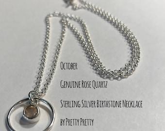 October Birthstone   Rose Quartz Sterling Silver Necklace