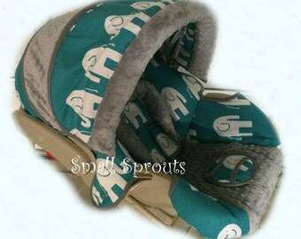 Alex~Turquoise Elephant/Grey Minky Dot Infant Car Seat Cover 5 piece set