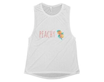 Peachy Peaches Muscle Tank, peachy tank top, peachy shirt, peach shirt, peach tank top, peaches tank top, peaches shirt, peach gym tank
