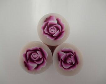 Pink Rose Polymer Clay Cane, Raw Polymer Clay Cane, Millefiori