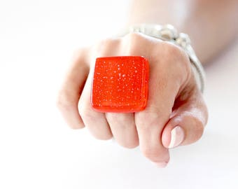 Orange ring, statement ring, fused glass ring - statement jewelry, winter fashion, handmade ring,  fashion jewelry, gift for her fused glass