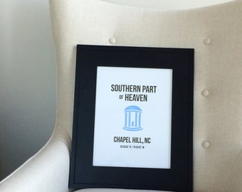 "10"" x 13"" Chapel Hill Letterpress Wall Art"