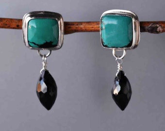 SALE, Turquoise Earrings with Black Spinel, Turquoise Statement Earrings, Gemstone Earrings, Metalwork Earrings, One of a Kind