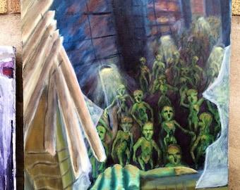 Moronic Flu original oils on canvas painting zoddo zombie hoard