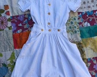 Xs 1940s Carlye FOGA white cotton butterfly shoulders dress