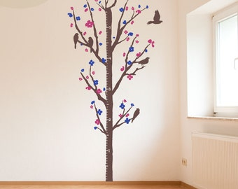 Cherry Blossom Measurement Tree -- Vinyl Wall Decal