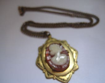 Victorian Style Carnelian and Ivory Colored Plastic Cameo Pendant and Chain