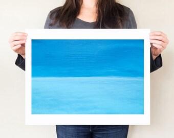 Abstract blue ocean photography print, minimal coastal home decor artwork. Ionian Sea, Greece fine art water photograph, turquoise wall art