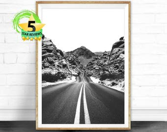Mountain Photography Open Road Print Scandinavian Print Home Decor Wall Art Nordic Poster Digital Download Landscape Minimalist Art