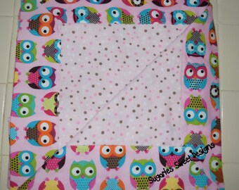 Cute Owl Flannel  Receiving Blanket with Dotted Fabric on the Front