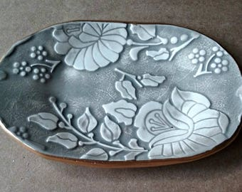 Ceramic Trinket Dish Taupe  edged in gold