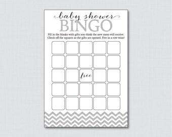 Silver Glitter Chevron Baby Shower Bingo Cards Printable - Blank Bingo Cards - Digital Instant Download - Silver Gray Glitter Chevron