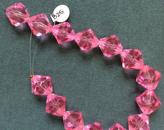 Large pink glass bicones - 14 pieces - #825