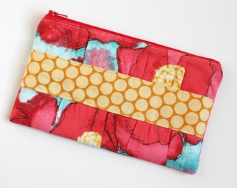 Gathered Clutch - Womens Wallet - Zipper Wallet - Fabric Wallet - READY TO SHIP