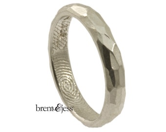Narrow Sterling Silver Hammered Finish Fingerprint Wedding Ring - Your Actual Fingerprint Wrapped Inside - Tumbled Finish