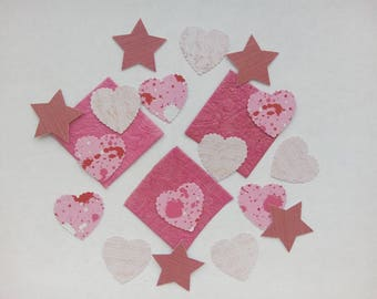 20 cut hearts, squares and pink stars for your scrapbooking/cardmaking creations.