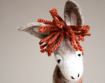 Peppino - Felt Donkey. Art Toy.  Marionette, Puppet, Felt Toys, Felted Animals.  brown orange  beige red  neutral. MADE TO ORDER.