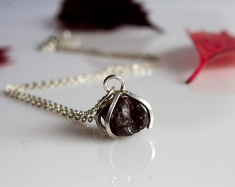 Raw garnet necklace burgundy necklace sterling silver necklace simple necklace minimal necklace elegant necklace
