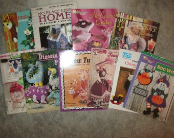 Big Lot--Plastic Canvas--10 Pattern Books--Tissue Dolls--Christmas--Rabbits--Dinosaurs--Witch--Storybook Trees--Angel & No Place Like Home