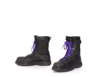 mens size 8 MILITARY black leather canvas GOTH 90s COMBAT jungle lace up boots