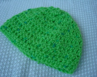 Soft Wool, Hand-Stitched Gender Neutral Baby Hat - Lime Green 312