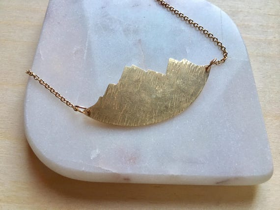 Mountain necklace, Brass mountain range pendant. Gold mountains