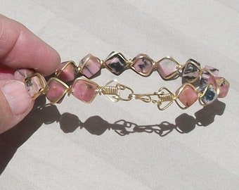 Rhodonite Bead Bracelet - Wire Wrapped in 14k Gold Filled Wire - Cube Pink & Black Beads with Handmade Clasp by JewelryArtistry - BR626