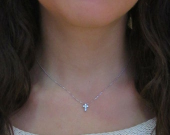 Tiny Diamond Cross Necklace // 14k white, yellow, or rose gold // natural diamonds // skinnybling top seller // .23cts of diamonds