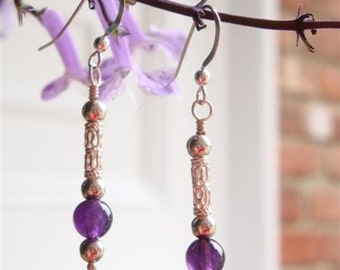 Jeannie In the Bottle - Amethyst and Sterling Silver Simplicity Earrings - Handmade by Dorana