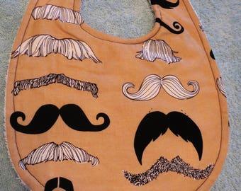 Boy Bib, mustache fabric